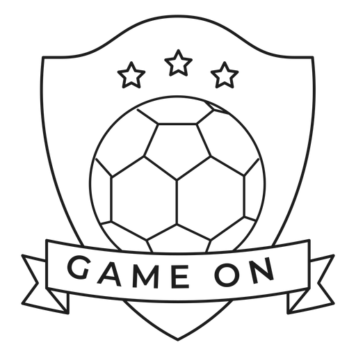 Game on ball star badge stroke Transparent PNG