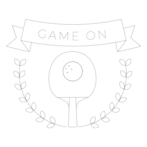 Game on tennis badge line Transparent PNG