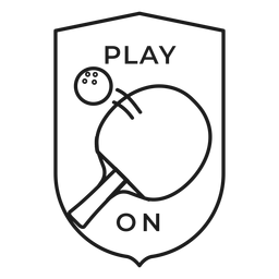 Juego en trazo de insignia de raqueta de pelota de tenis