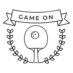 Game on tennis ball racket branch badge stroke