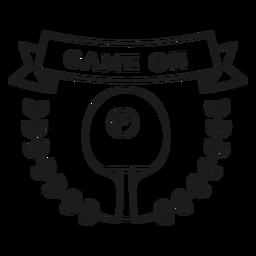 Game on tennis ball racket branch badge stroke