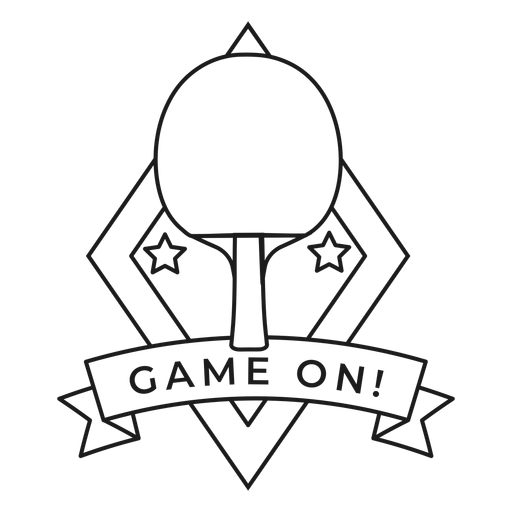 Game on tennis racket badge stroke Transparent PNG