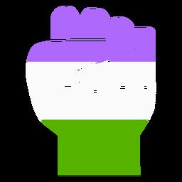 Genderqueer mão dedo punho tarja plana