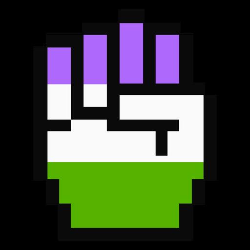 Genderqueer Hand Finger Faust Streifen Pixel flach Transparent PNG