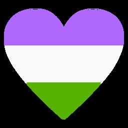 Faixa de coração Genderqueer plana