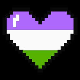 Corazón de género raya píxel plano
