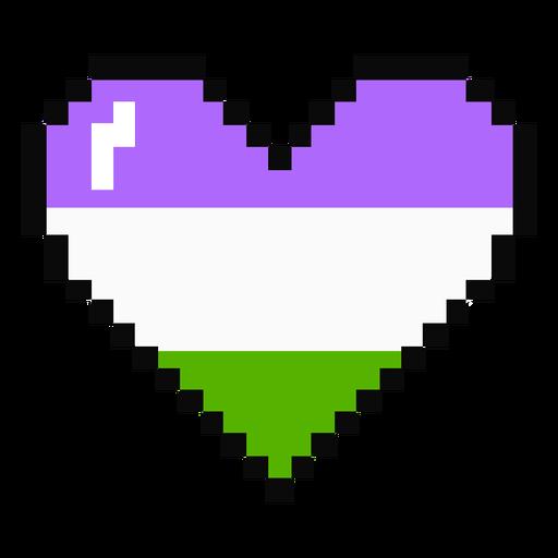 Genderqueer heart stripe pixel flat Transparent PNG