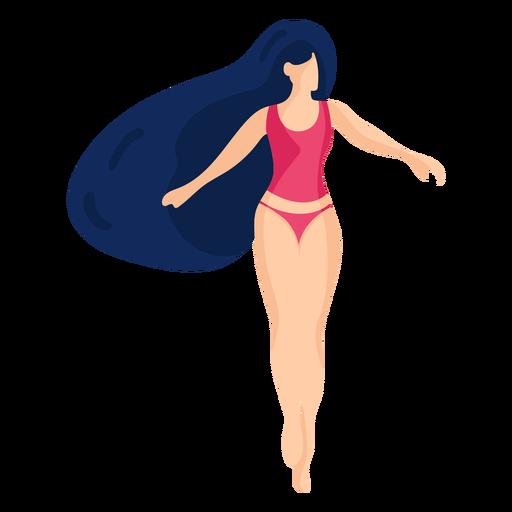 Chica mujer traje de baño traje de baño camiseta bañador troncos cabello plano Transparent PNG