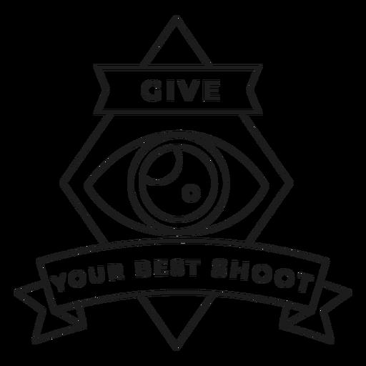 Dale a tu mejor disparo objetivo ojo rombo insignia trazo Transparent PNG