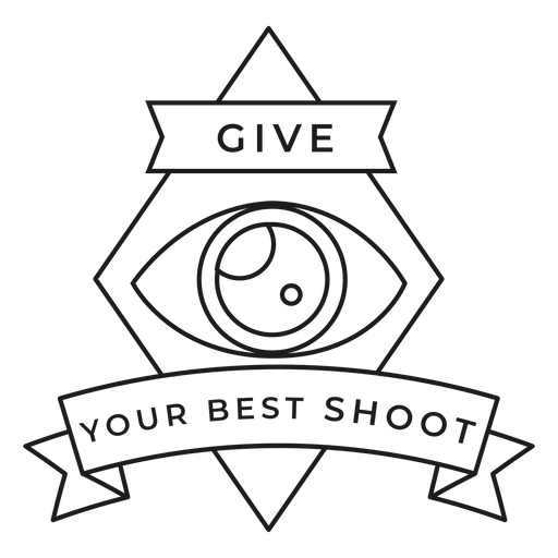 Give your best shoot eye lens objective rhomb badge stroke