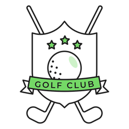 Etiqueta do emblema colorido da estrela do clube da bola do clube de golfe