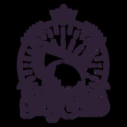 Etiqueta engomada de la insignia de la corona de la bola de la rama del club de golf