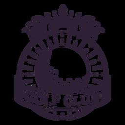 Etiqueta do emblema do ramo da bola da coroa do clube de golfe