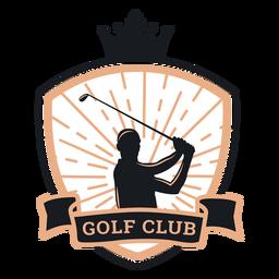 Logotipo de clube de jogador de coroa de golfe