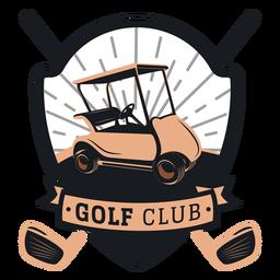 Logotipo del club del volante de la rueda del carro de golf del club de golf