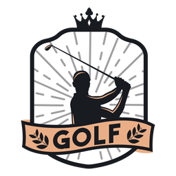Club de golf jugador club rama logotipo de la corona