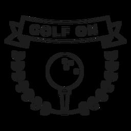 Golfe, bola, ramo, emblema, apoplexia
