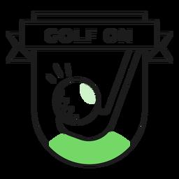Etiqueta engomada de la insignia de color de golf en el club de pelota