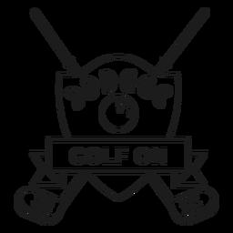 Golfe, bola, estrela, ramo, clube, emblema, apoplexia