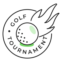 Adesivo de emblema colorido de fogo de bola de torneio de golfe