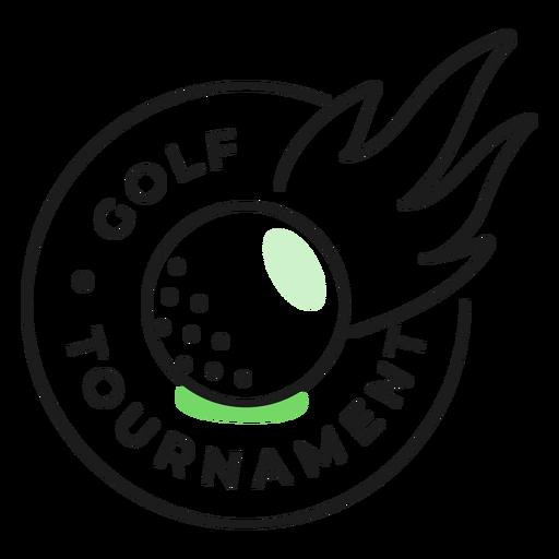 Adesivo de emblema colorido de fogo de bola de torneio de golfe Transparent PNG