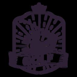 Etiqueta do emblema do jogador do clube da coroa do golfe
