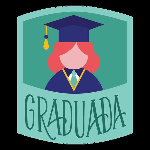 Pegatina gorra académica persona graduada