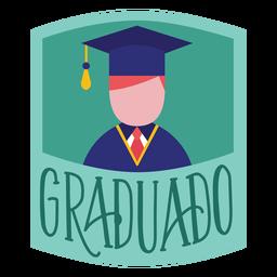 Adesivo de boné acadêmico pessoa Graduado