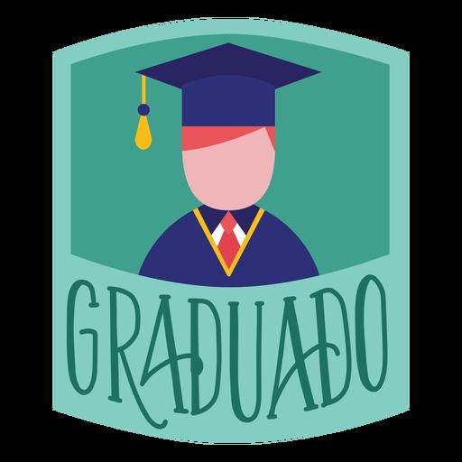 Pegatina gorra académica persona graduado
