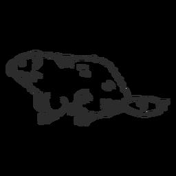 Ground marmota focinho rabo de pêlo rabiscar doodle