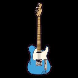 Guitarra cuerda dedo tablero cuello mano dibujada ilustración
