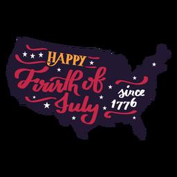 Feliz quarto de julho desde 1776 mapa do país adesivo estrela