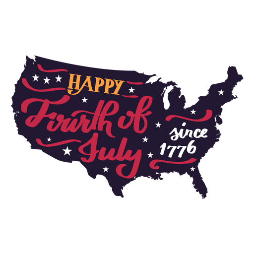 Happy fourth of july since 1776 country map star sticker Transparent PNG