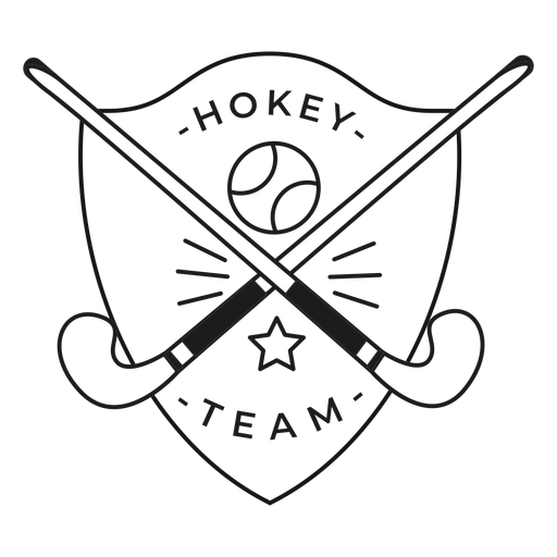 Hockey team stick ball star badge stroke Transparent PNG