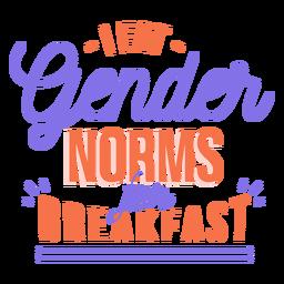 Eu como normas de gênero para adesivo de café da manhã