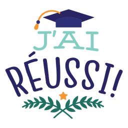 J'ai réussi star branch academic cap sticker