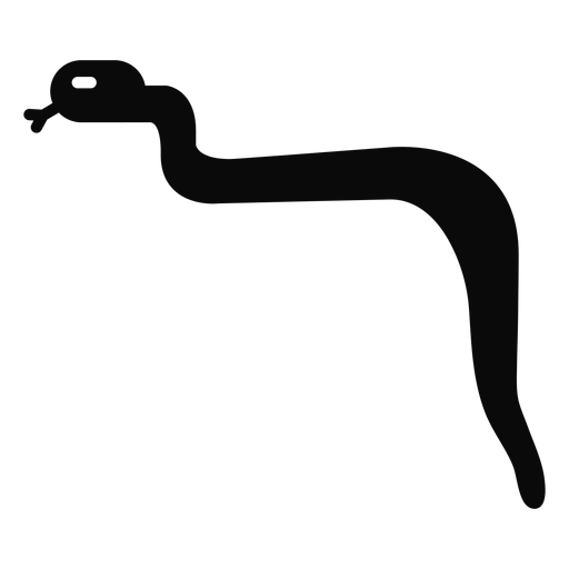 J snake forked tongue detailed silhouette Transparent PNG
