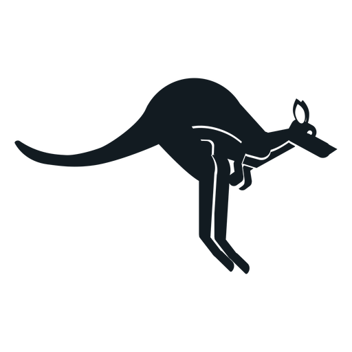 Kangaroo ear tail muzzle pouch detailed silhouette Transparent PNG
