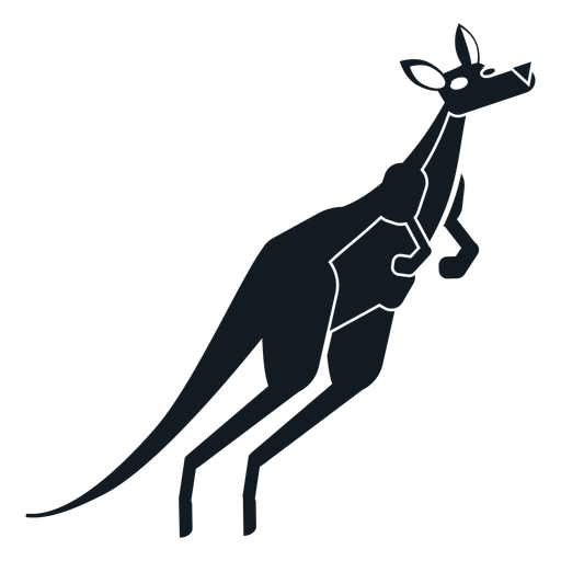 Kangaroo tail muzzle ear pouch detailed silhouette Transparent PNG