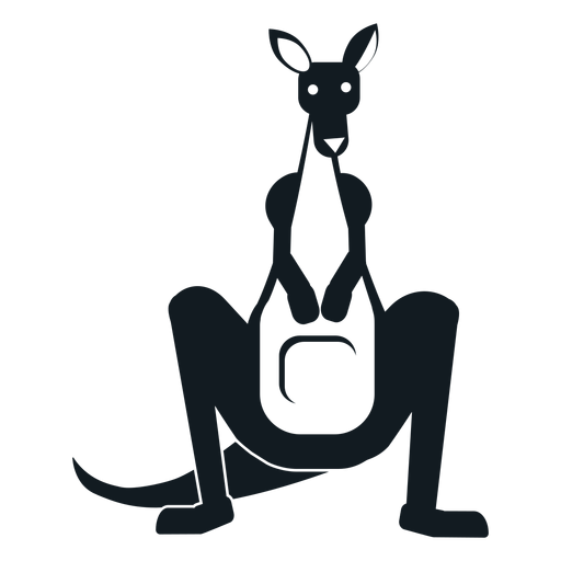 Kangaroo tail muzzle pouch ear detailed silhouette Transparent PNG
