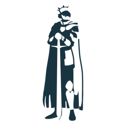 King sword crown mantle detailed silhouette