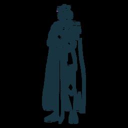 Rey espada corona manto silueta detallada