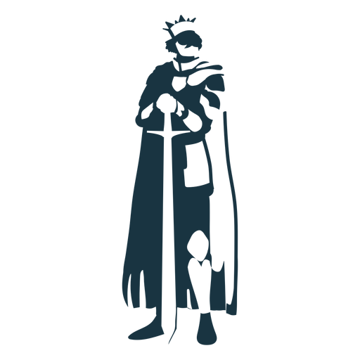 King sword crown mantle detailed silhouette Transparent PNG