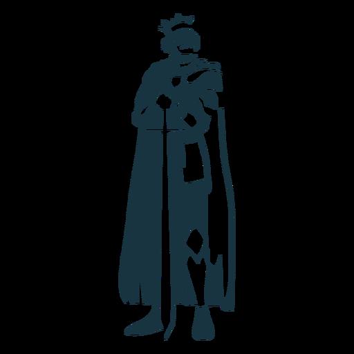 King sword crown mantle detailed silhouette