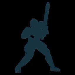 Silhueta detalhada da espada da armadura da placa do cavaleiro