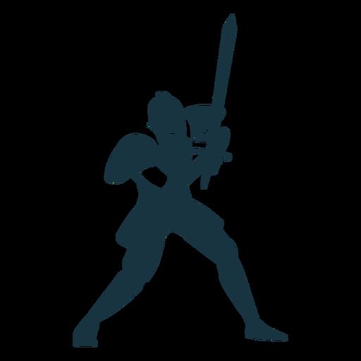 Caballero placa armadura espada silueta detallada