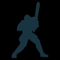 Caballero placa armadura espada silueta