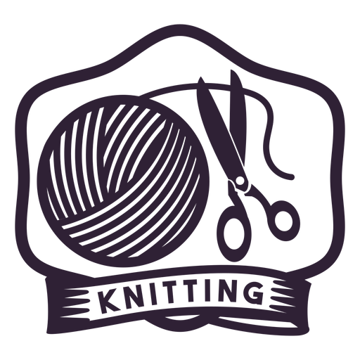 Knitting clew shears badge sticker