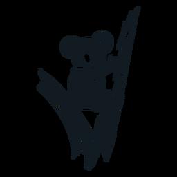 Silhueta detalhada de orelha de garra de Koala