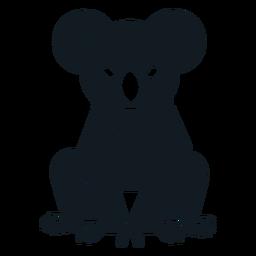 Koala orelha sentado garra nariz silhueta detalhada